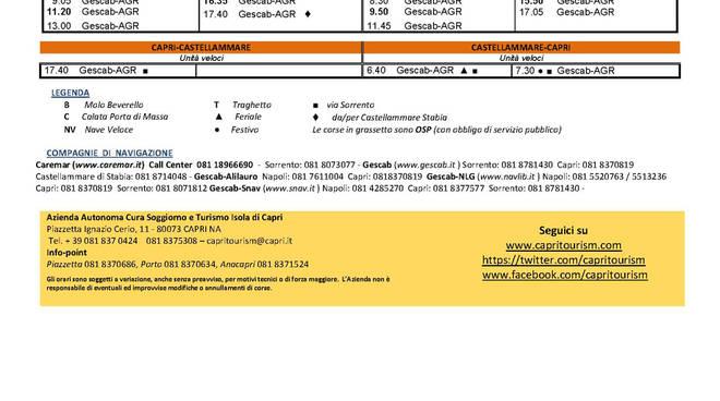 Trasporti: ecco la tabella degli orari marittimi per Capri entrati ...