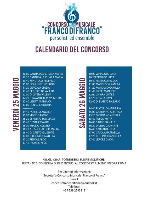 calendario concorso musicale Franco di Franco Positano