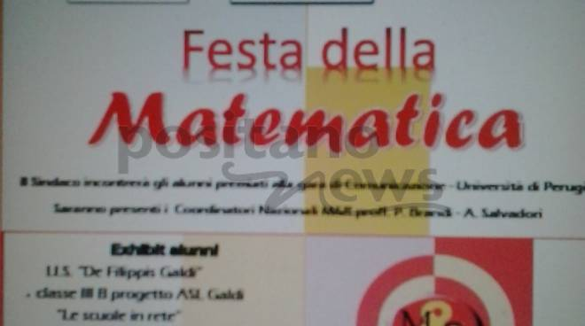 Festa della Matematica a Cava de\' Tirreni. Il sindaco Vincenzo Servalli incontra i vincitori del Concorso Matematica e Realtà promosso dall\'Università di Perugia