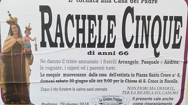 Condoglianze Rachele Cinque