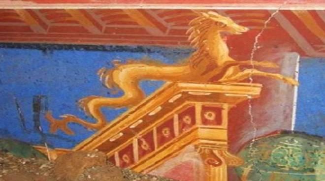 Particolare di affresco della Villa Romana