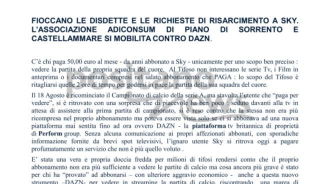 Fioccano le disdette e le richieste di risarcimento a Sky. L'Associazione Adiconsum di Piano di Sorrento  si mobilita contro Dazn.