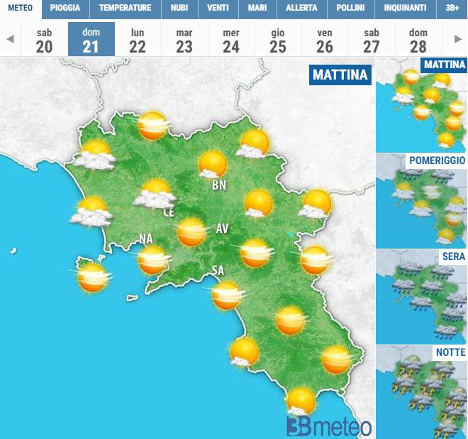 meteo penultimo weekend di ottobre