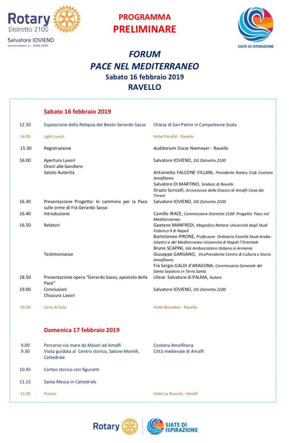 """Ravello: Il Rotary presenta il forum """"Pace nel Mediterraneo"""""""