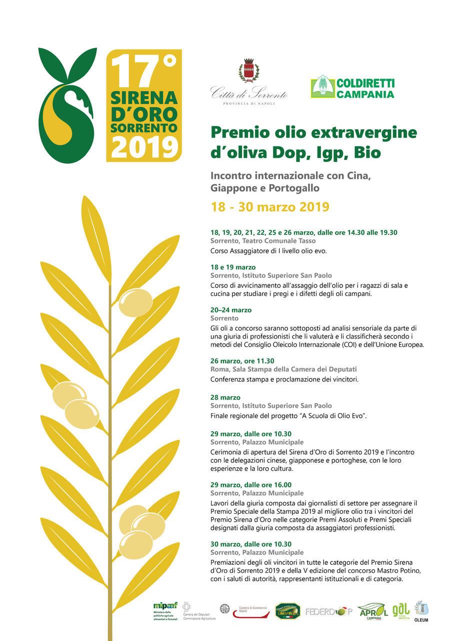 Sirena d'Oro 2019. Presentazione alla stampa dei nomi dei vincitori del premio per gli oli Dop, Igp e Bio