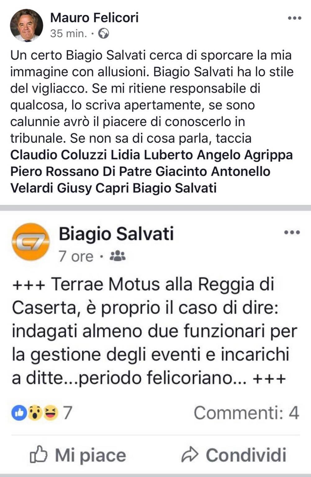 INDAGATI DIRIGENTI DELLA REGGIA DI CASERTA - FELICORI ATTACCA SU FACEBOOK UN GIORNALISTA