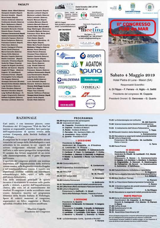 """Maiori. Convegno di Flebologia """"Fleb do Mar""""2019"""