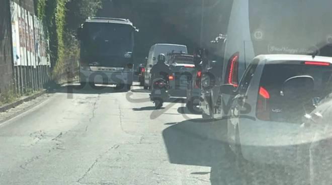 traffico a seiano per incidente e lavori gori