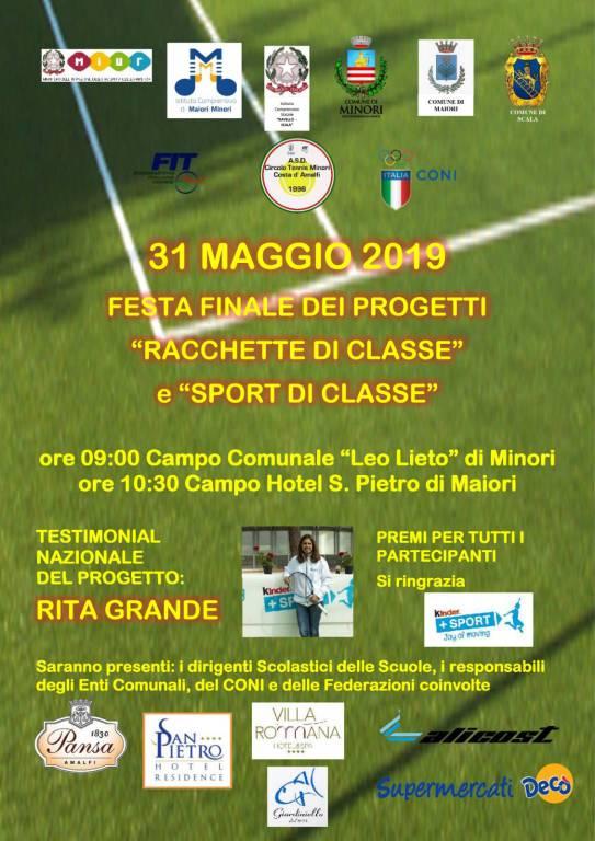 Venerdì 31 Maggio   ore 9,00 festa di Sport a Minori  al campo Leo lieto