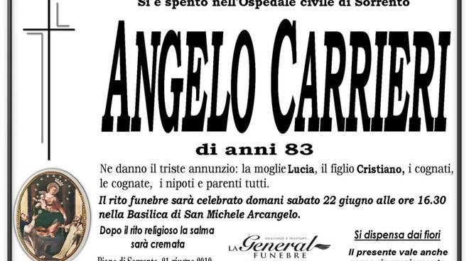 Piano di Sorrento, addio ad Angelo Carrieri: funerali nella giornata di domani