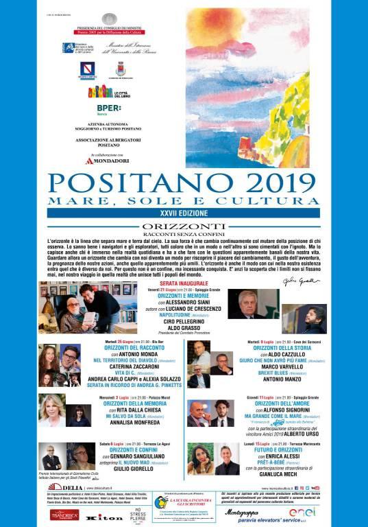 """""""Positano 2019 Mare, Sole e Cultura"""" al via dal 21 giugno al 15 luglio"""