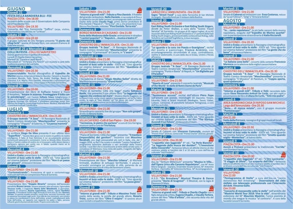 Piano di Sorrento eventi estivi giorno per giorno 2019