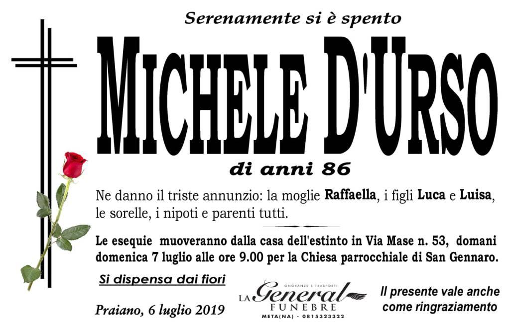 Praiano: lutto per la scomparsa di Michele D'Urso
