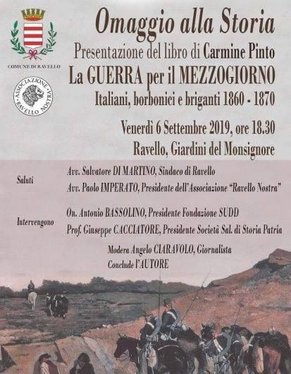 """Ravello presenta il libro """"La Guerra per il Mezzogiorno"""" di Carmine Pinto. Un omaggio alla storia"""