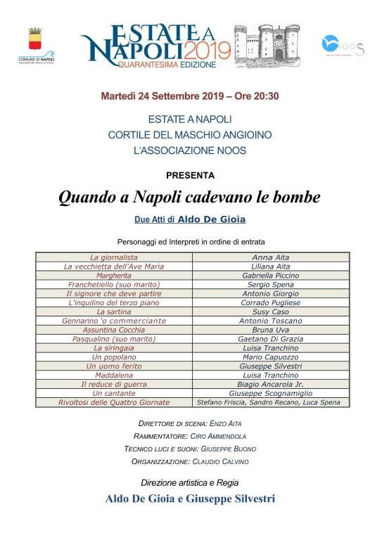 """Napoli. Maschio Angioino andrà in scena il lavoro """"Quando a Napoli cadevano le bombe"""""""