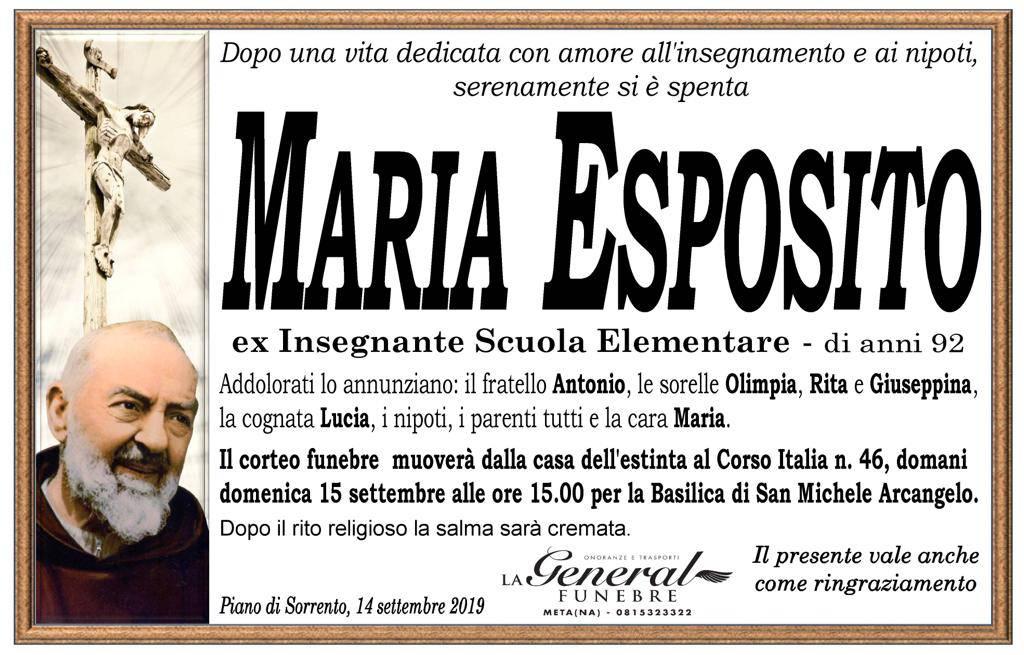 Piano di Sorrento dice addio alla maestra Maria Esposito