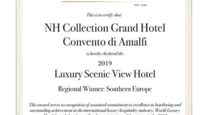 NH Collection Grand Hotel Convento di Amalfi: un nuovo prestigioso riconoscimento