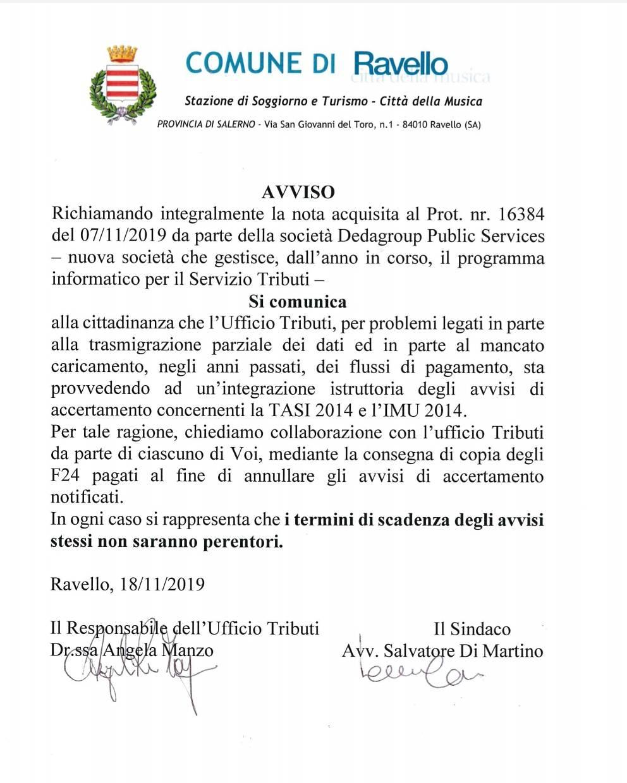 Avviso del Comune di Ravello