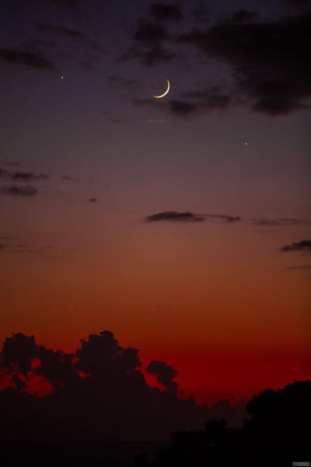 Positano Venere e Giove con la Luna