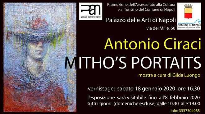 "Locandina - PAN - ""MYTHO'S PORTRAITS"" con opere di Antonio Ciraci."