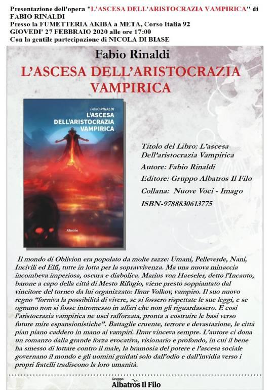 """Presentazione del libro""""L'ascesa dell'aristocrazia vampirica"""" di Fabio Rinaldi"""