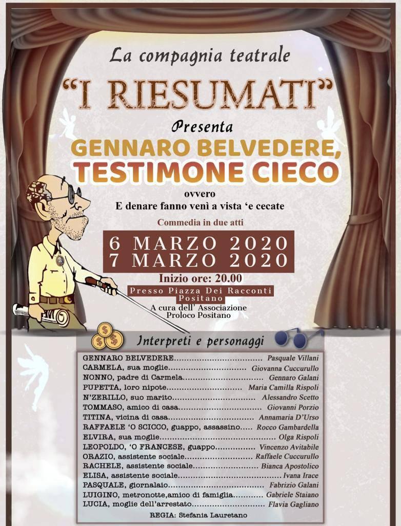 """Positano. Il 6 e il 7 marzo la commedia """"Gennaro Belvedere, Testimone Cieco"""" con """"I Riesumati"""""""