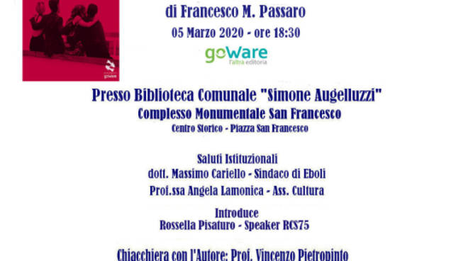 Eboli 2 ^ Edizione DiVini Libri Chiacchierata con l\'Autore – Città di Eboli Presentazione del libro La città dei sangui di Francesco M. Passaro.