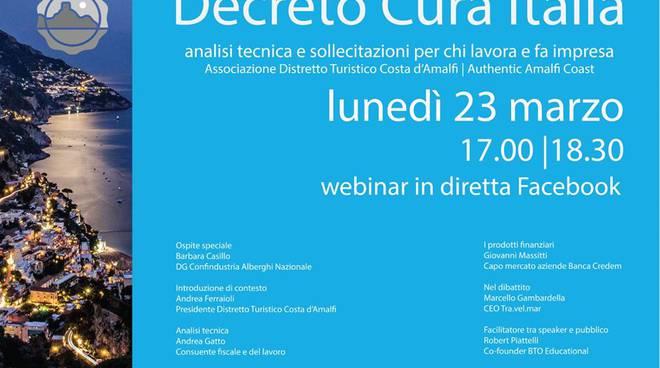"""Costa d'Amalfi. Emergenza Coronavirus, lunedì 23 marzo live con il Webinar """"Decreto Cura Italia"""""""