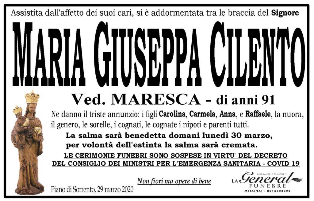 Maria Giuseppa Cilento manifesto