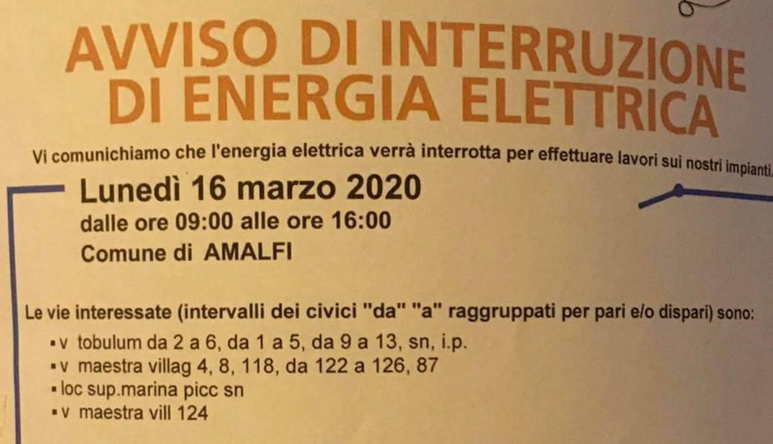 sospensione energia elettrica amalfi