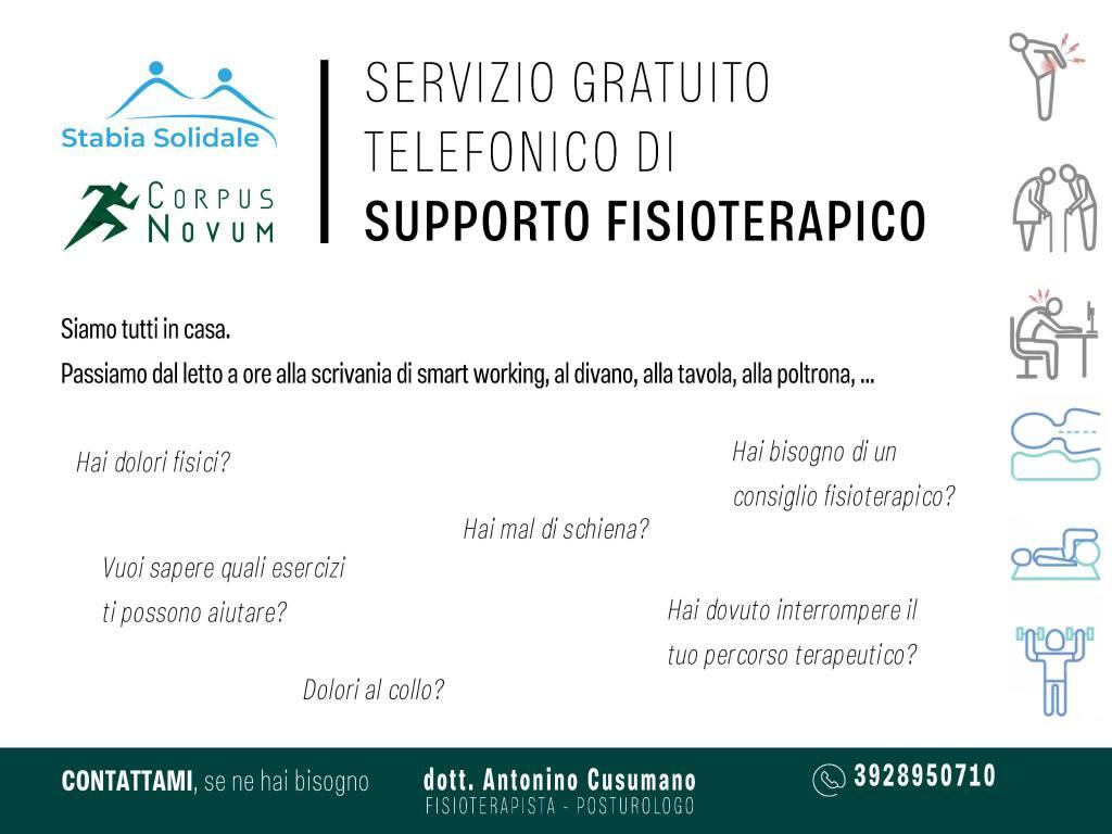 Castellammare di Stabia: al via un servizio telefonico gratuito di supporto e consulenza fisioterapica