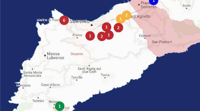 covid map sorrento sant'agnello meta massa lubrense 6 aprile