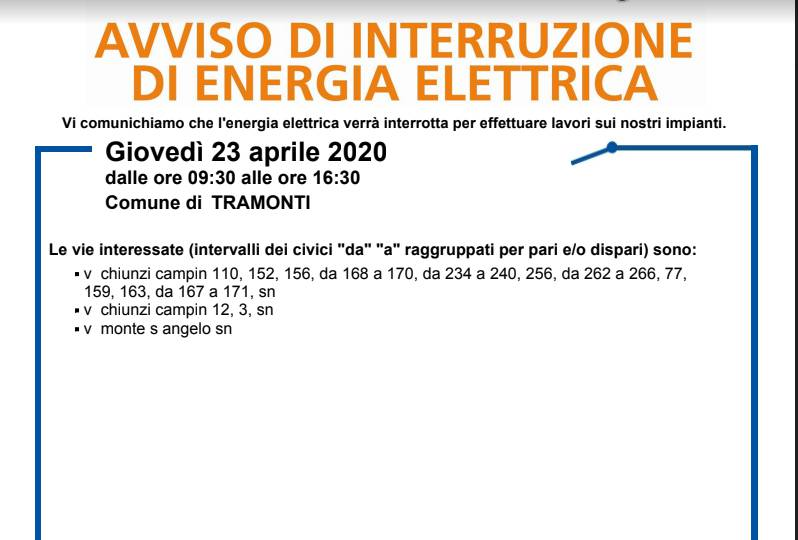 energia elettrica tramonti