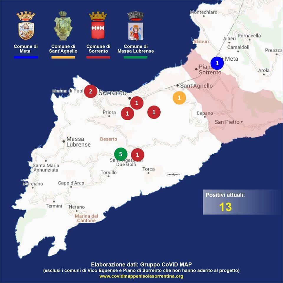 Penisola Sorrentina Covid Map 24 aprile Sorrento Sant'Agnello Meta Massa Lubrense