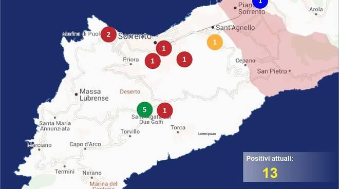 Penisola Sorrentina Covid Map Massa Lubrense Sorrento Sant'Agnello Meta 23 aprile