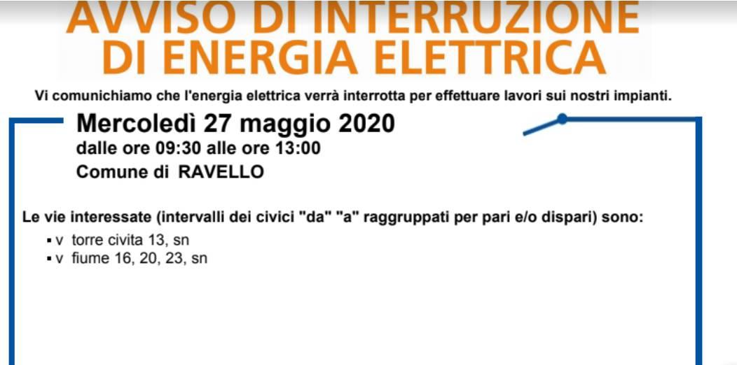 Costiera Amalfitana. Mercoledì 27 maggio interruzione elettrica a Ravello ed Atrani