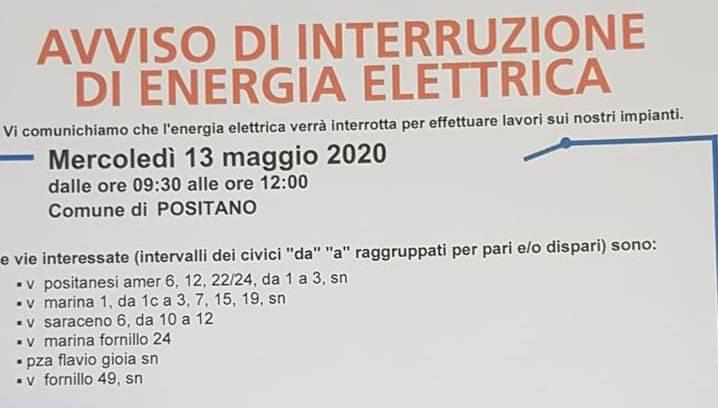 interruzione energia positano