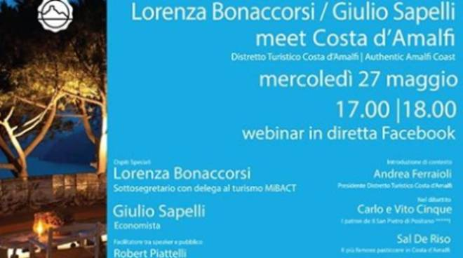Nono WeBinar del Distretto Turistico della Costiera Amalfitana: mercoledì 27 maggio parteciperà il sottosegretari