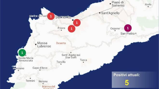 penisola sorrentina covid map 12 maggio sorrento meta massa lubrense sant'agnello piano di sorrento