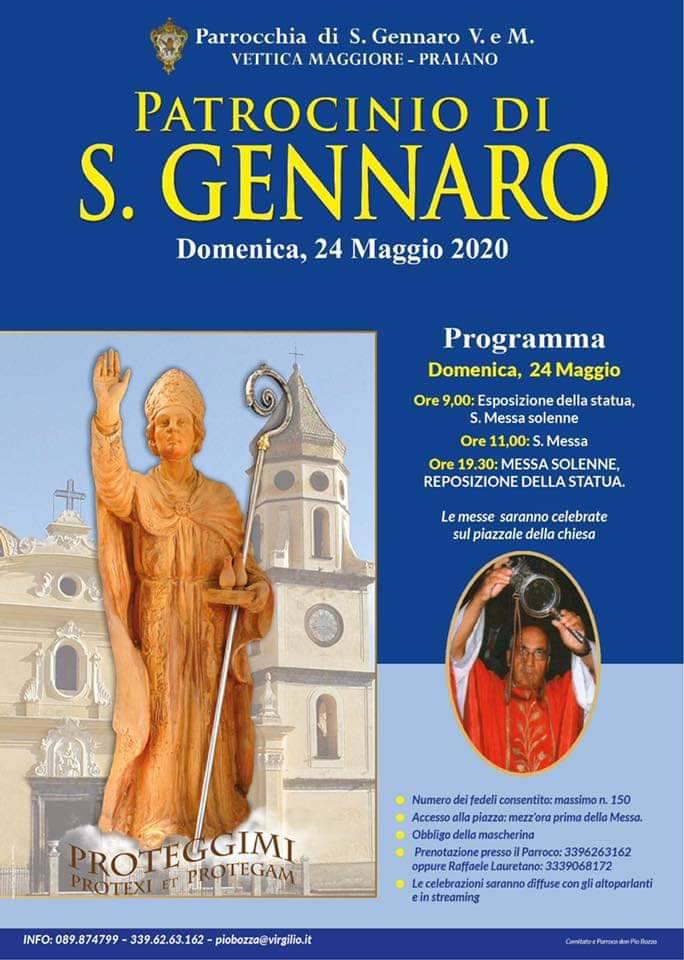 Vettica Maggiore, Praiano. Domenica 24 maggio le celebrazioni religiose di San Gennaro