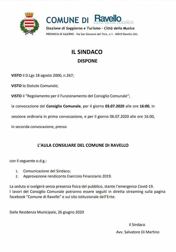 Ravello. Convocato il consiglio comunale per l'approvazione rendiconto Esercizio Finanziario 2019