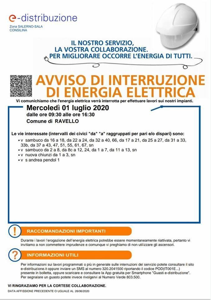 Ravello. Mercoledì 1 luglio interruzione elettrica fino alle 16.30. Ecco le zone interessate
