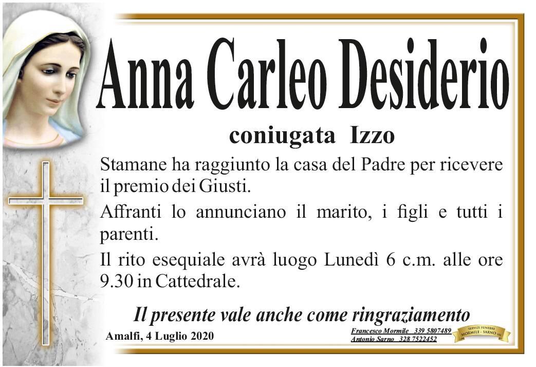 Amalfi. Ci ha lasciati Anna Carleo Desiderio, coniugata Izzo