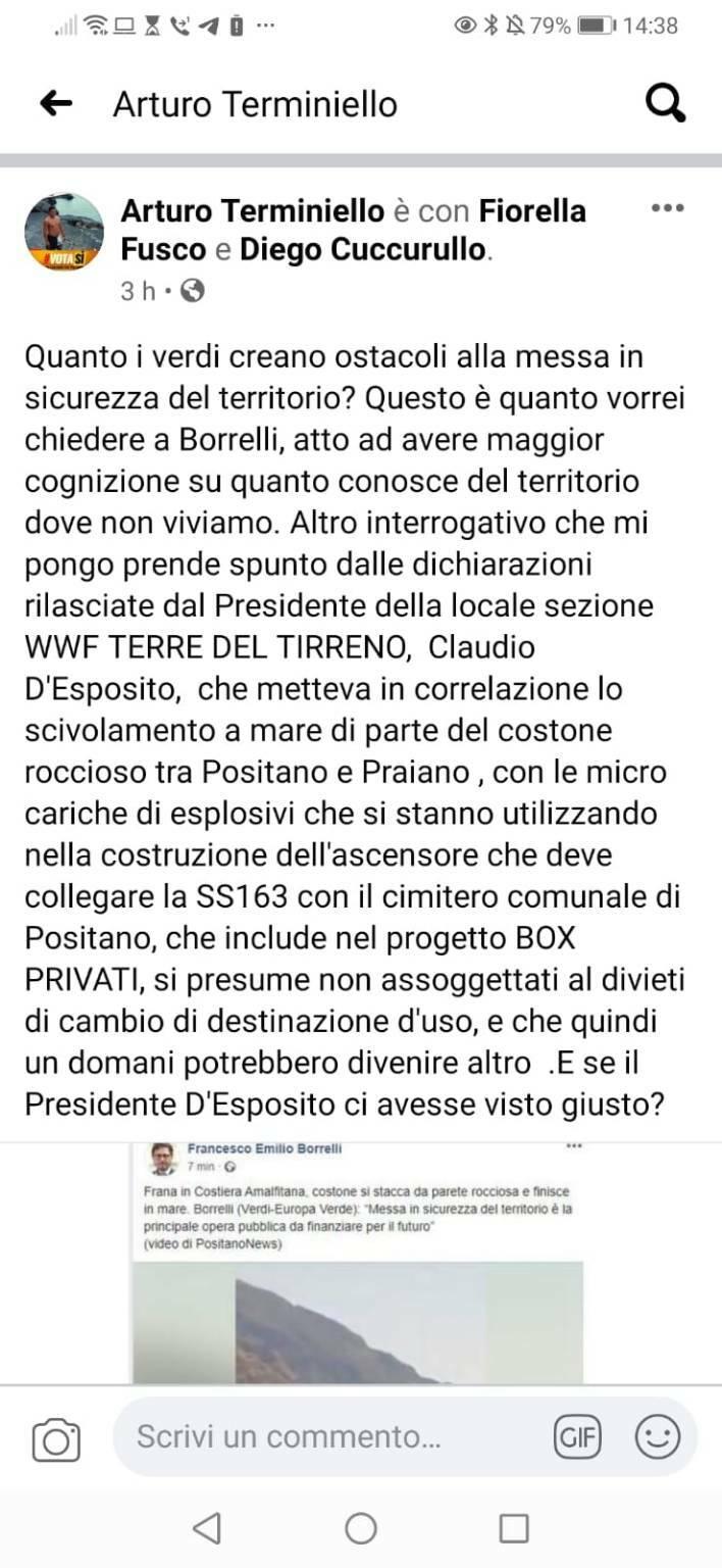 Arturo Terminiello post crolla frana