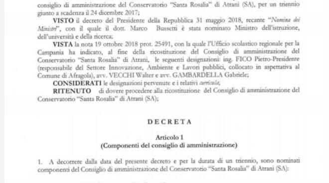 Passaggio di consegne al Conservatorio di Santa Rosalia Atrani.
