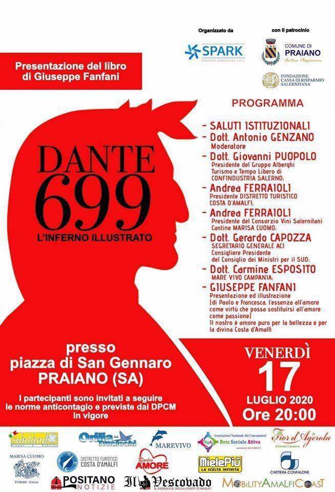 """""""Dante 699"""", Giuseppe Fanfani presenta il suo ultimo libro a Praiano"""