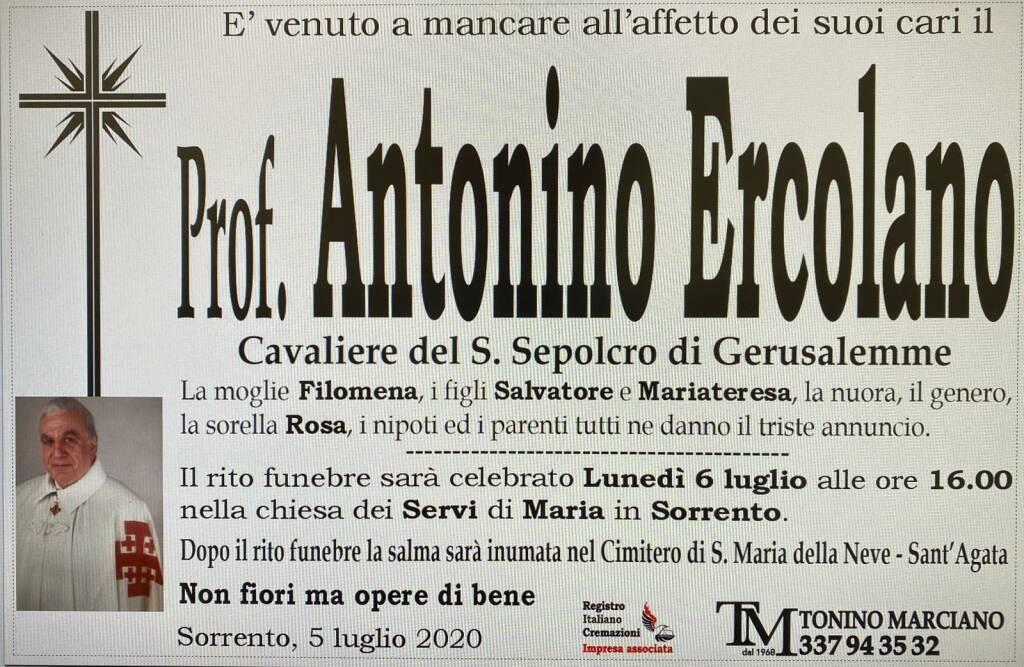 Sorrento. E' venuto a mancare il prof. Antonino Ercolano, Cavaliere del S. Sepolcro di Gerusalemme