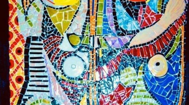 5 - Il cantuccio della ceramica- mosaico ispirato a Donna allo specchio di Picasso