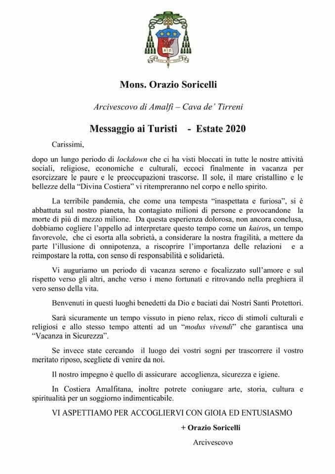 Arcidiocesi Amalfi-Cava de' Tirreni. Il messaggio di S.E. mons. Orazio Soricelli ai turisti