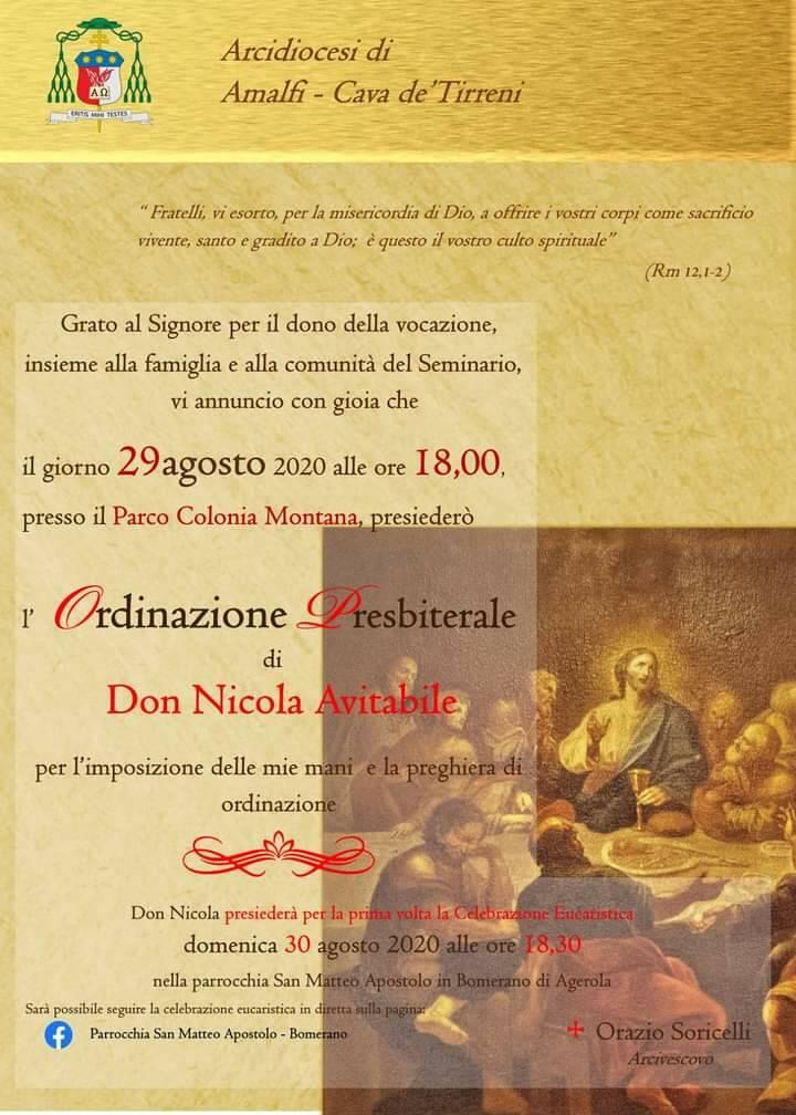 Bomerano di Agerola. Sabato 29 agosto l'Ordinazione Presbiterale di Don Nicola Avitabile